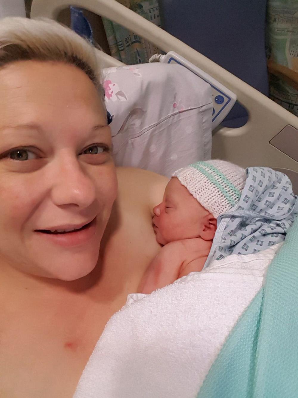 Leanne Hugglestone and baby